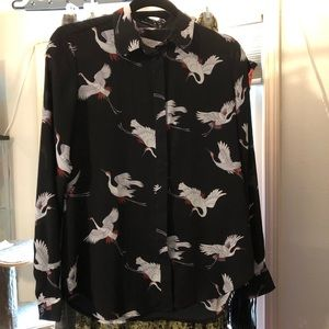 LOFT Long sleeved Black Button Blouse with birds